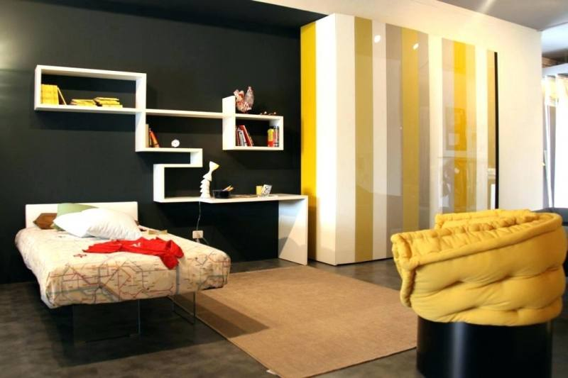 dark gray bedroom ideas black and gray bedding with golden yellow cushion  for modern bedroom decorating