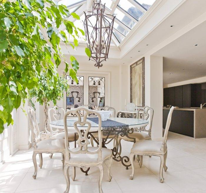 Open Plan Kitchen Dining Room Conservatory White Cabinets And Cupboards White Luxury Bar Island Cream Tile Floor And Backsplash White Cabinet White Narrow