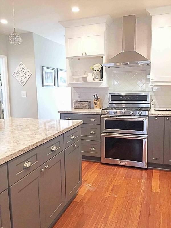 kitchen cabinets dark bottom white top