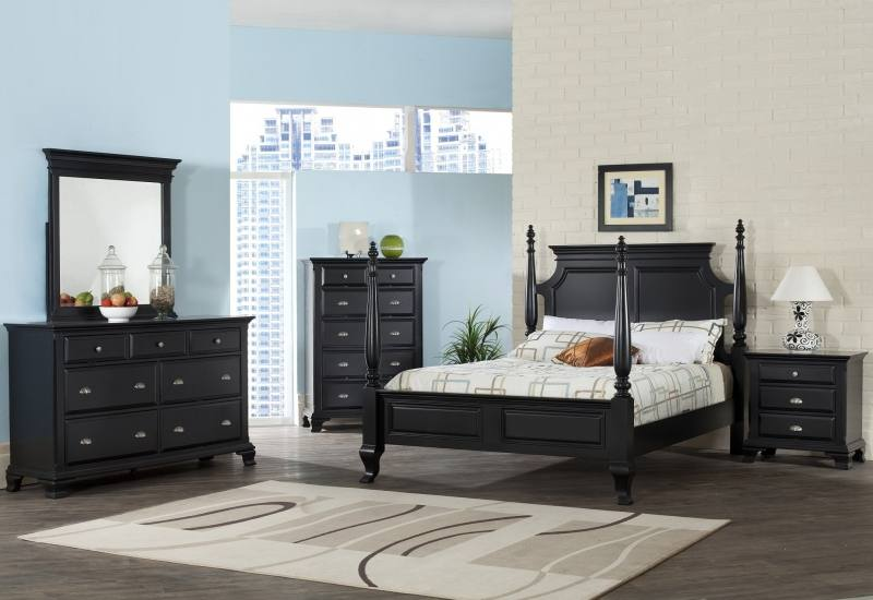 bedroom set includes a queen size bed with reading light, tall chest and dresser, both with mirrors