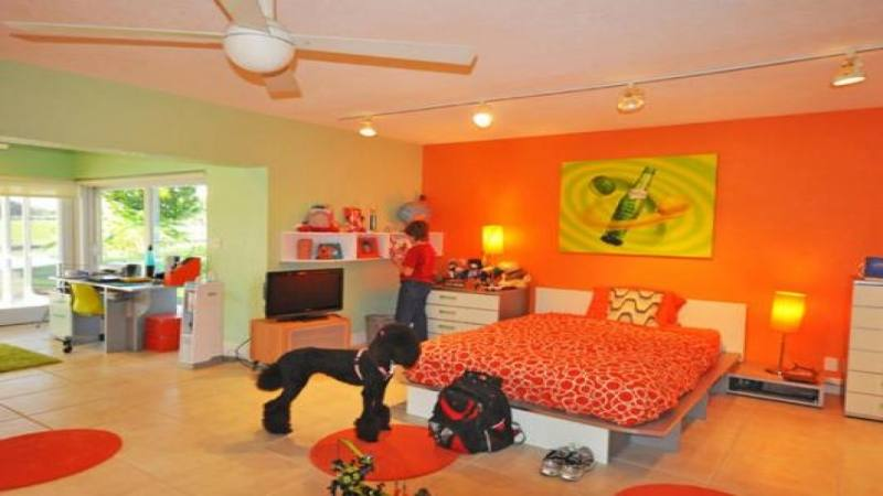 Bright orange dining room also appears in the pictures below