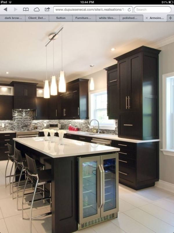 taupe/grey island with white/cream cabinets